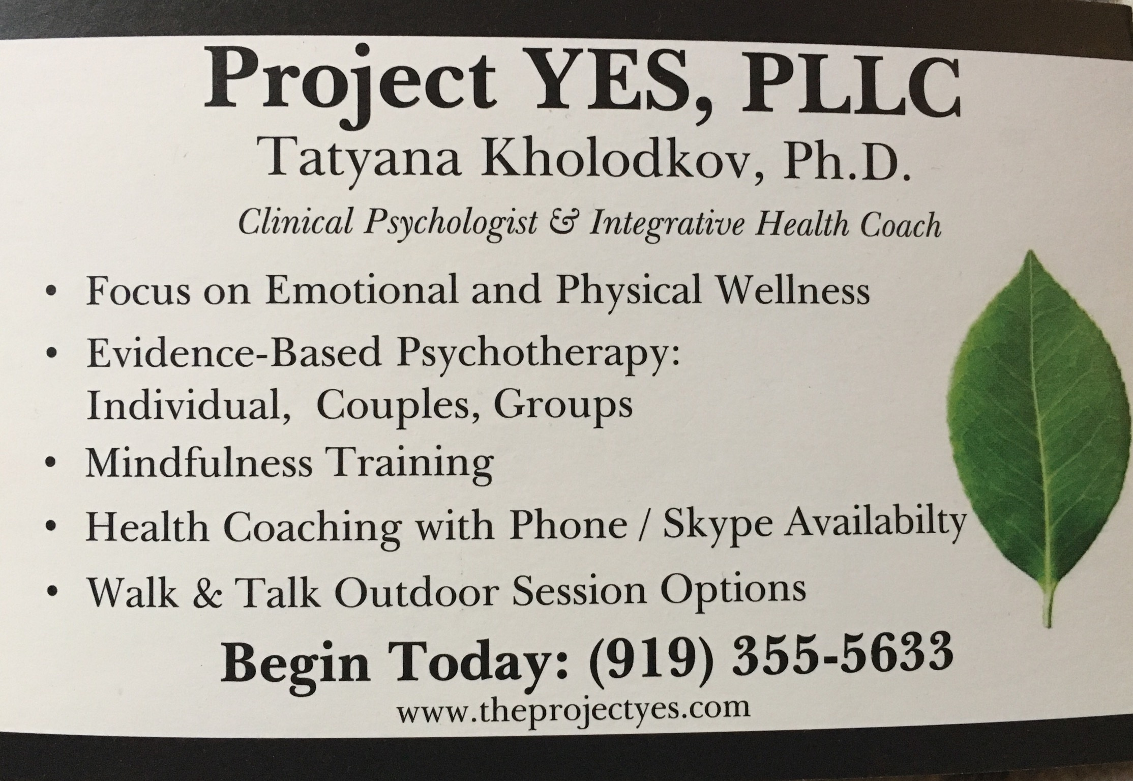 Project Yes- Tatyana Kholodkov, PhD